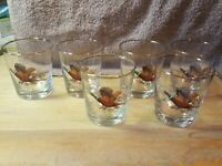 Set of 6 Vintage Ring Neck Pheasant Glasses with gold coloured rim