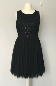 MONSOON FUSION UK14 Black Party Dress Evening Keyhole Occasion Layered Electra