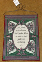 Faith ~ His Kingdom Above Stained Glass Window Tapestry Bannerette Wall Hanging