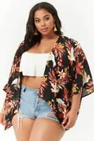 Forever 21 Plus Size Black Rust Tropical Print Kimono 2X/3X