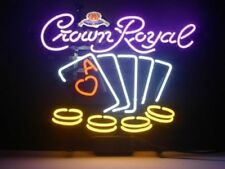 "New Crown Royal Poker Chips Real Glass Neon Light Game Room Beer Bar Sign 20""x16"