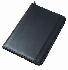 Negro A4 Cartera presentación Organizador carpeta Folio De Cuero cremallera carpeta de anillo