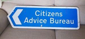 Genuine UK  Road / Street Sign Citizens Advice Bureau large sign metal
