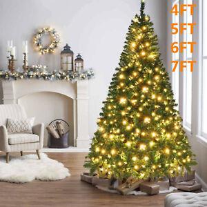 4/5/6/7ft Artificial Christmas Tree With LED Lights & Metal Stand Xmas Bushy UK