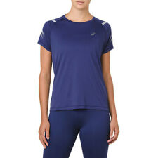 Asics Womens Icon T Shirt Tee Top Navy Blue Sports Running Breathable Reflective