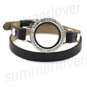 Twist Locket Base Bracelet  PU Leather Floating Charms Watch Bracelet Wristband