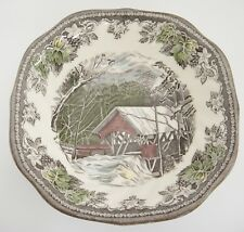 "Johnson Bros Friendly Village Square Cereal Bowl Covered Bridge 6.25"" Mint"