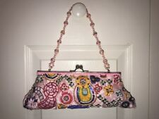 FASHION EXPRESS MULTI Satin Beaded Clutch Purse EVENING Party Pink bag  10X4""