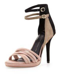 10 Crosby Derek Lam Women's Revolve Jules Suede Colorblock Leather Heels 8.5