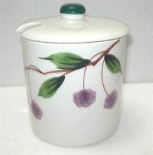 "JAM JELLY POT Condiment Jar ITALY ITALIAN Pottery BERRY MOTIF  Slotted Lid 4.5"""