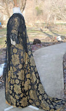 ANTIQUE DRESS 1910 TEA GOWN METALLIC BROCADE + LAME MUSEUM DE-ACCESSIONED LABEL
