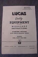 LUCAS AVVIATORE Workshop le istruzioni per M45G M418G M35G Starters