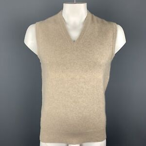 BALLANTYNE Size XL Heather Oatmeal Beige Cashmere V-Neck Sweater Vest