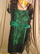 Vintage Edwardian 20s Green Satin Dress BLACK LACE Tabards Beaded GC S M