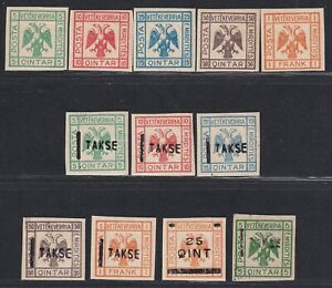 Albanian Mirdita stamps 1914 Original bogus set of 12, MH with OG