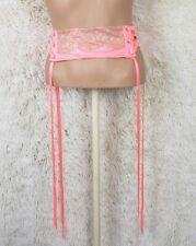 Victoria's Secret Size XS/S Waist Cincher Belt Ribbons Neon Pink Gold Lace P