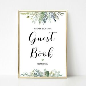 Please Sign Our Guest Book Green Foliage Wedding Sign A4