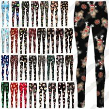 New Ladies Xmas Christmas Tree Gift Reindeer Smock Print Skinny Leggings Trouser