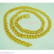 "Men's Deluxe 22K 23K 24K THAI BAHT YELLOW GOLD GP NECKLACE 28"" Jewelry N 280"