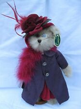 Bearington Collection Queen Fedora Bear Red Feathered Hat Purple Dress Plush