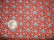 """Vintage Cotton Fabric DUSTY BLUE,ROSE,TAN FLORAL ON MAROON 1 Yd/43"""" Wide"""