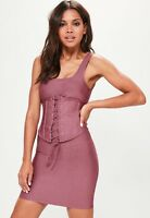 Missguided Women's Corset Stretch Dress Short Fitted Size 2 Purple Mauve
