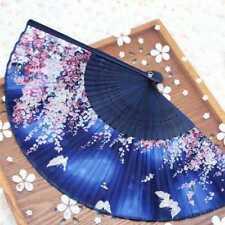 Bambus Holz Seide Faltfächer japanischen Stil Sakura Floral Schmetterlinge Desig