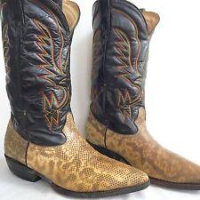 Vintage Custom Snakeskin Leather Mens Western Cowboy Boots Brown Handmade