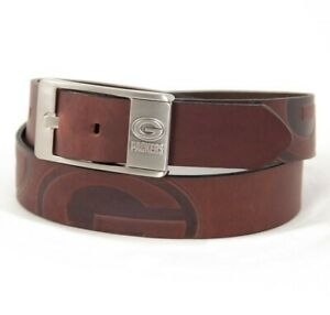 BRAND NEW Green Bay Packers NFL Brandish Embossed Mens Leather Belt - Size 34