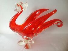 Vintage Chalet Art Glass Bowl Red Big Rooster/Swan/Bird Figurine Canada