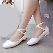 Sweet Womens Flats Patent Leather Ballet Pumps Ankle Strap Lolita Shoes Plus Sz