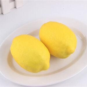 3pcs Plastic Lemon Ornament Foam Artificial Fruit Party Wedding Decor DIY 10*7cm