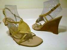 CARLOS Santana Sz 7.5 Beige_Gold Leather Strappy Sandal Wedge Pump Womens Shoes