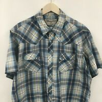 Mens 2XL WRANGLER Wranchers Short Sleeve Western Pearl Snap Shirt Plaid XXL 33c