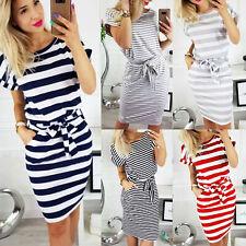 Womens Striped Midi Bodycon Dress Ladies Summer Holiday Short Sleeve Shirt Dress