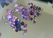 Big 50 faceted glass crystal swarovski jewelry making beads lot purple dark blue