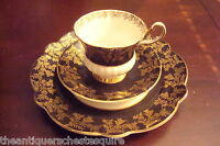 Society fine china from England TRIO cup,saucer & cake plate, black and gold[*4]