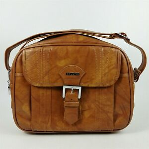 American Tourister Shoulder Bag Brown Marbled Overnight Luggage Footed 1975