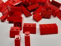 LEGO 50 Red Roof Bricks Slopes Wedges Bundle of 50 Mixed Sizes