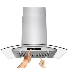 "36"" Island Mount Stainless Steel Dual Touch Panel Kitchen Range Hood Cooking Fan"