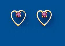 Echter Edelsteine-Ohrschmuck aus Gelbgold mit Rubin und Herz
