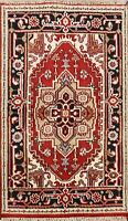 Traditional Handmade Heriz Serapi Oriental Area Rug Geometric Wool Carpet 3x4 ft