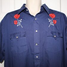 Vtg Authentic Western Youngbloods Blue Embroidered Roses Shortsleeve Shirt Xl