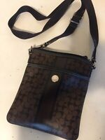 Women's Coach Crossbody Handbag Purse Vintage Brown Leather Used NDS