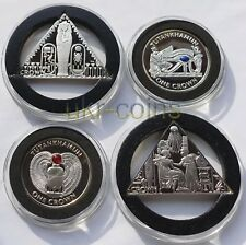 2008 Isle of Man Tutankhamun Silver 4-Coin Proof Set Pharaoh Pyramid Box 1 Crown