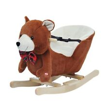Homcom Cavallo a dondolo in legno Orso Giocattolo Vintageper I Bambini Marrone