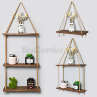 Wooden Hanging Rope Shelf Wall Mounted Floating Shelf Storage Rustic 1/2/3