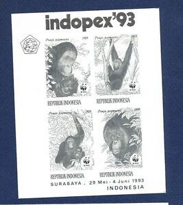 INDONESIA - VF MNH S/S - WWF Orangutan  Indopex'93 -  1993