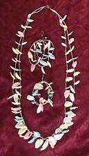 Hawaiian -HANDMADE -SHELL -Mother Of Pearl  -2 Strand NECKLACE & Earrings Set-