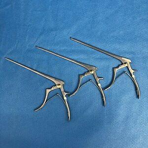 Set of Codman 3 Classic Cervical 2mm-4mm Kerrison Rongeur Orthopedic